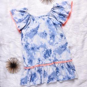 💕5for$25💕 Tie Dye Coral Poms Trim Dress Tunic